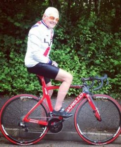Somerset Road Club rider Peter Sandy on his Pinarello bike